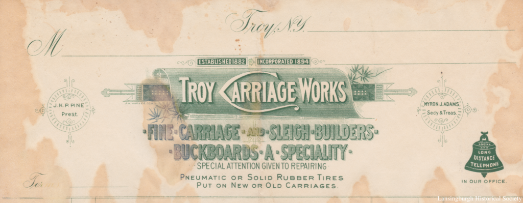 Established 1882 Incorporated 1894 J. K. P. Pine Pres't Myron J. Adams Sec'y & Treas. Fine Carriage and Sleigh Builders Buckboards a Specialty Special Attention Given to Repairing Pneumatic or Solid Rubber Tires Put on New or Old Carriages Long Distance Telephone in Our Office