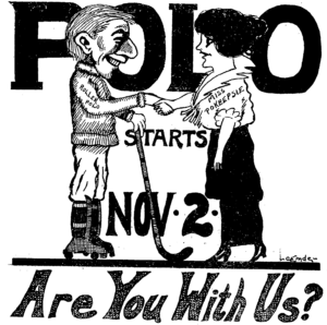 Illustration of roller polo player shaking hand of Miss Pokeepsie