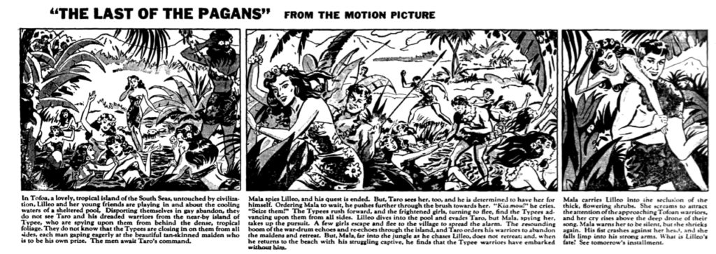 Three panel black & white comic strip adaption of a portion of the film.