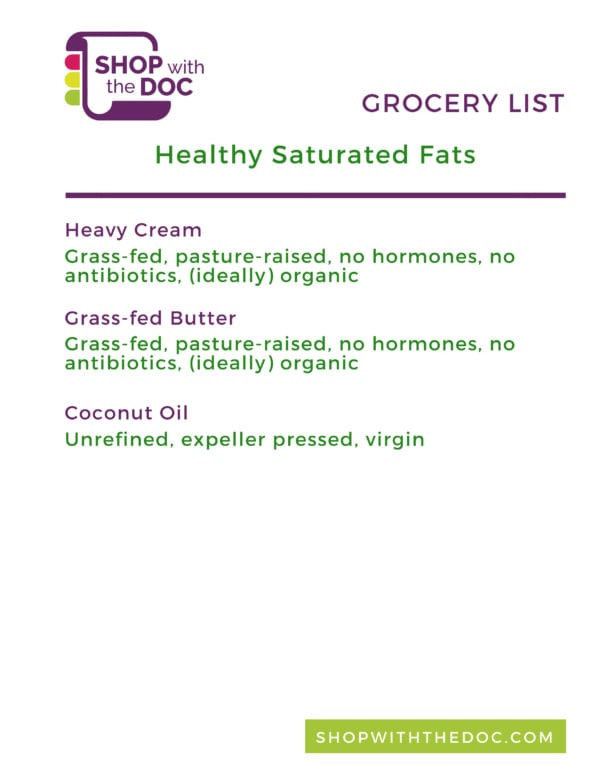 Healthy Saturated Fats, Shop with The Doc shopping list