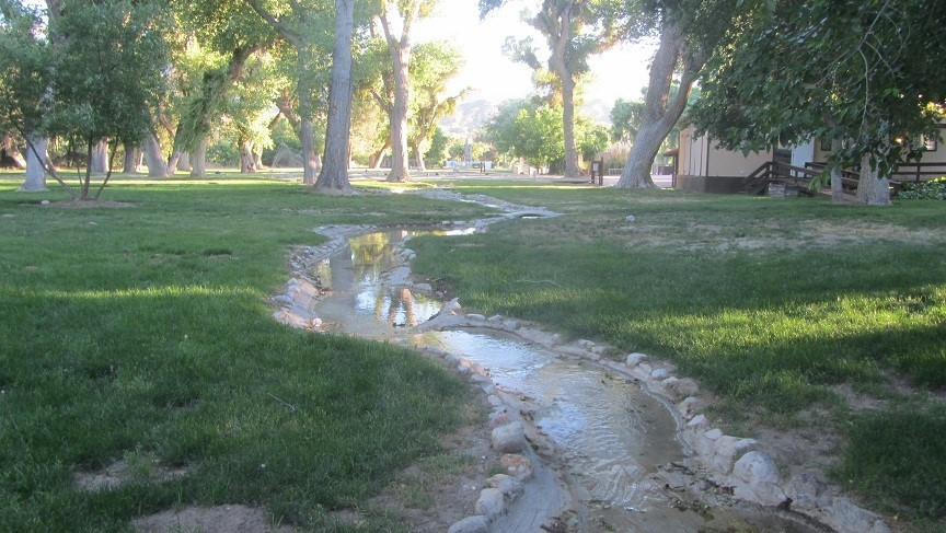 Cool water features meanders through the park