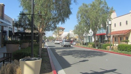 Example of a California Mall. No roof, or people in a hall, but a road? Do Californians not walk?