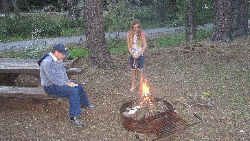 Back at camp Sarah and Athena built a fire near the RV