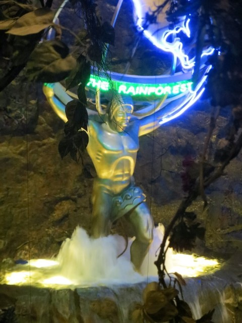 We found Atlas.  After he  shrugged, he placed in the MGM rain forest cafe.