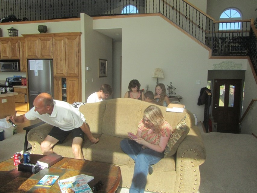 Some of them came back to the house from the beach to visit and do puzzles.