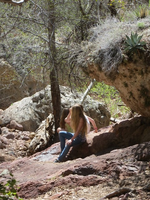Holly and the girls found some shade and are enjoying the quiet stream while we climb out of the canyon.