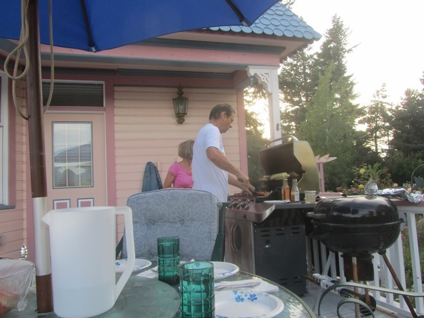 Ron is pulling Kabobs and serving dinner