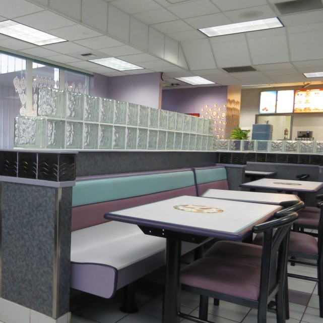 I found them a new dining establishment, looks like a public shower room from the 80′s converted to a dining room.