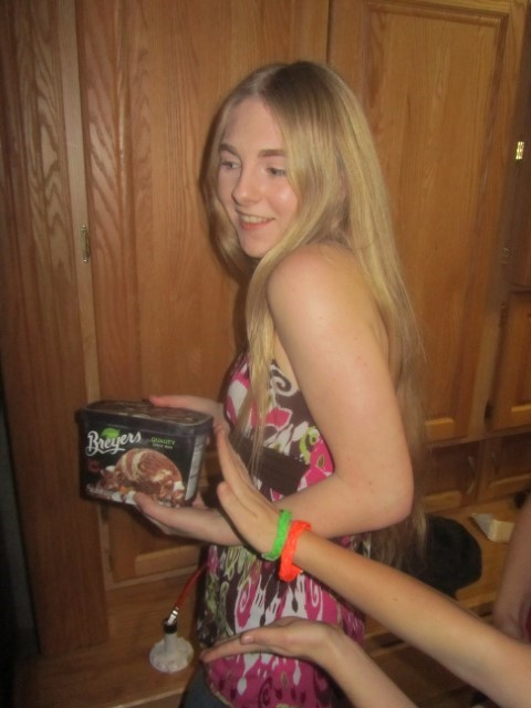 Holly presents us with our reward for a job well done. I only wish that they had not shrunk the size of a half gallon,