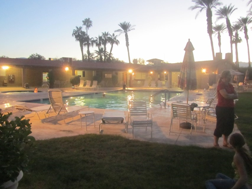 Back at the palm springs RV Thousand trails RV resort, we enjoy the waning sun.
