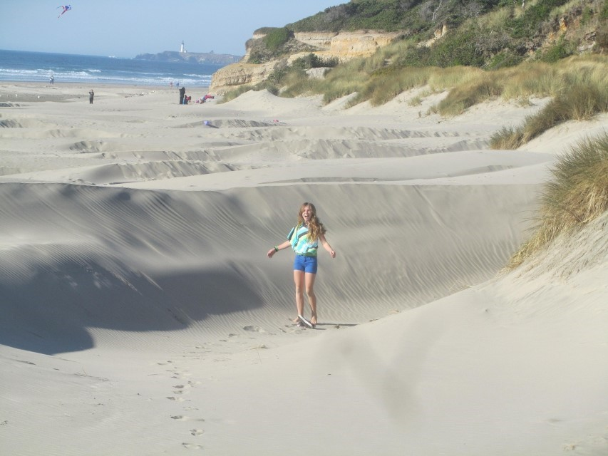 We descended a very long hill, crossed a big dune, and ended up on a cool, but less than flat beach.