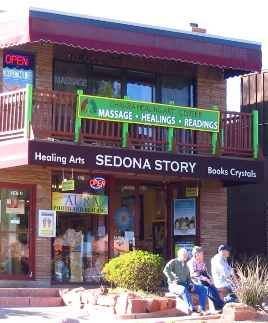 Sedona is loaded with gift shops, and men sitting on benches while their wives are inside. I keep accidentally calling this city Sodom . I think it has to do with the work I am doing in Genesis, or maybe the number of places to eat and get loaded. Really not sure which, but it's a fun town. They will even take a picture of your Aura for you if you have got one.  I don't have an Aura even and even if I did, I would not let them take a picture of it. They charge too much money, and I am a do it your self kinda a guy.