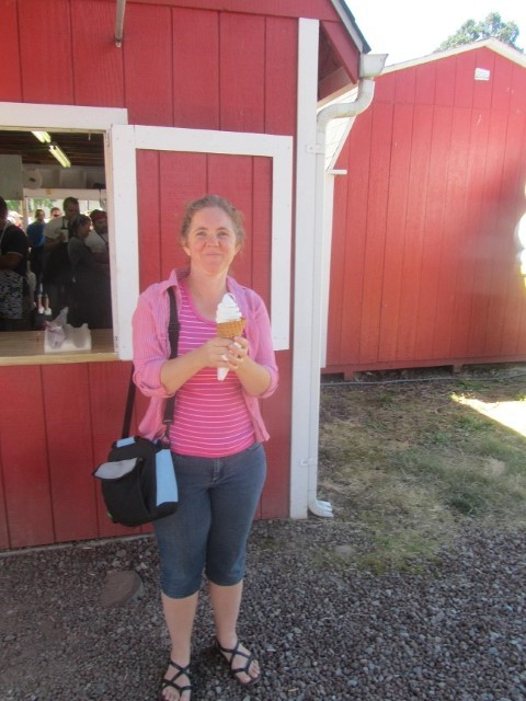 Our favorite part of the fair is the American Dairy Women ice cream barn. We go here every year. Like the fair, the ice cream cone was a third smaller this year too. The ice cream is still awesome though.