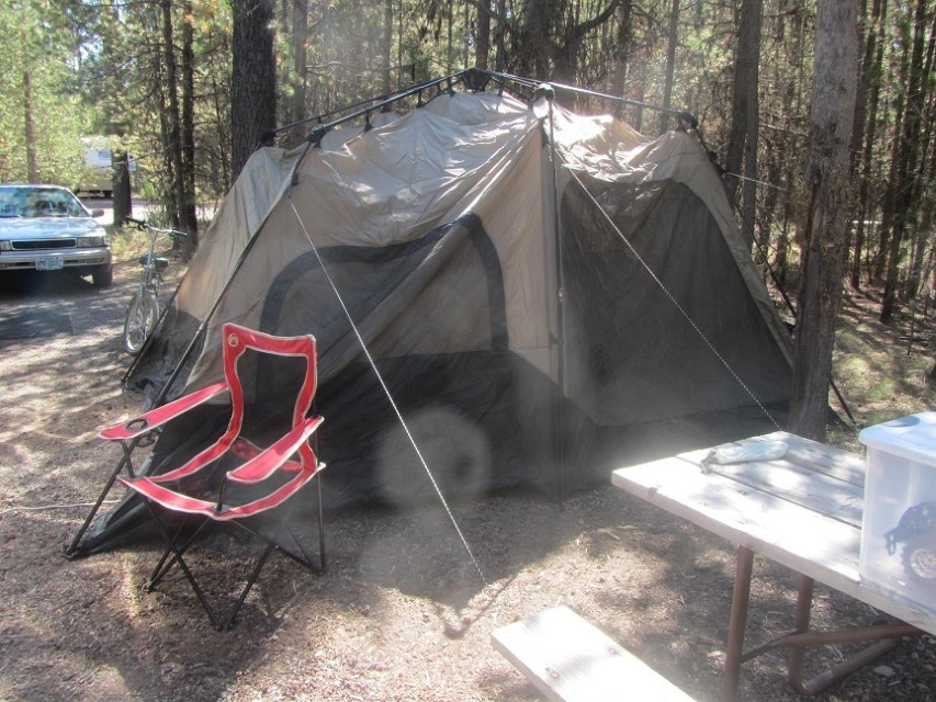 Jae arrives Friday night, and we set up a one minute 8 person cabin tent in only 15 minutes.
