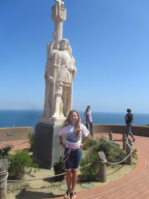 We placed Sarah in front of the statue of Cabrillo. Turns out there is a striking resemblance. Look at their eyes. (Note: no pictures exist of Cabrillo, this statue was entirely made up. I hope that when we are all resurrected at the end of time, he is not disjointed about this rendition of him, and he is not too upset about the skirt thing.)