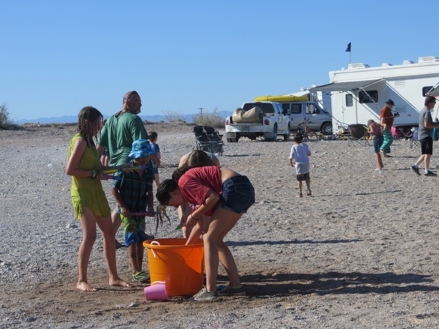 It is getting to be 95 degrees! Peter cools everyone off by emptying his bladder all over camp!