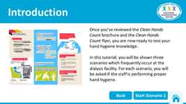 Screenshot from the Test Your Hand Hygiene Knowledge tutorial