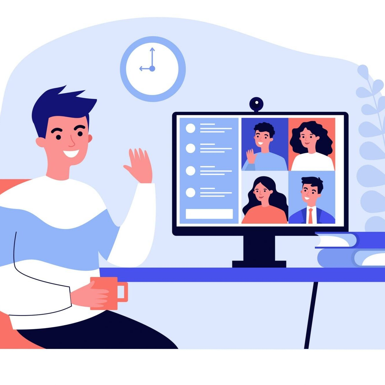 Animation of man on computer