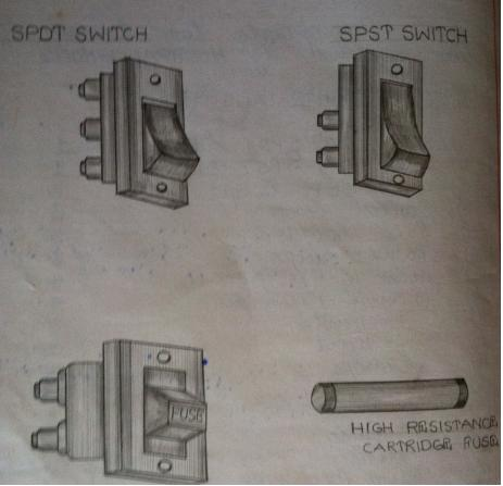 standard SPDT and SPST switches and fuses