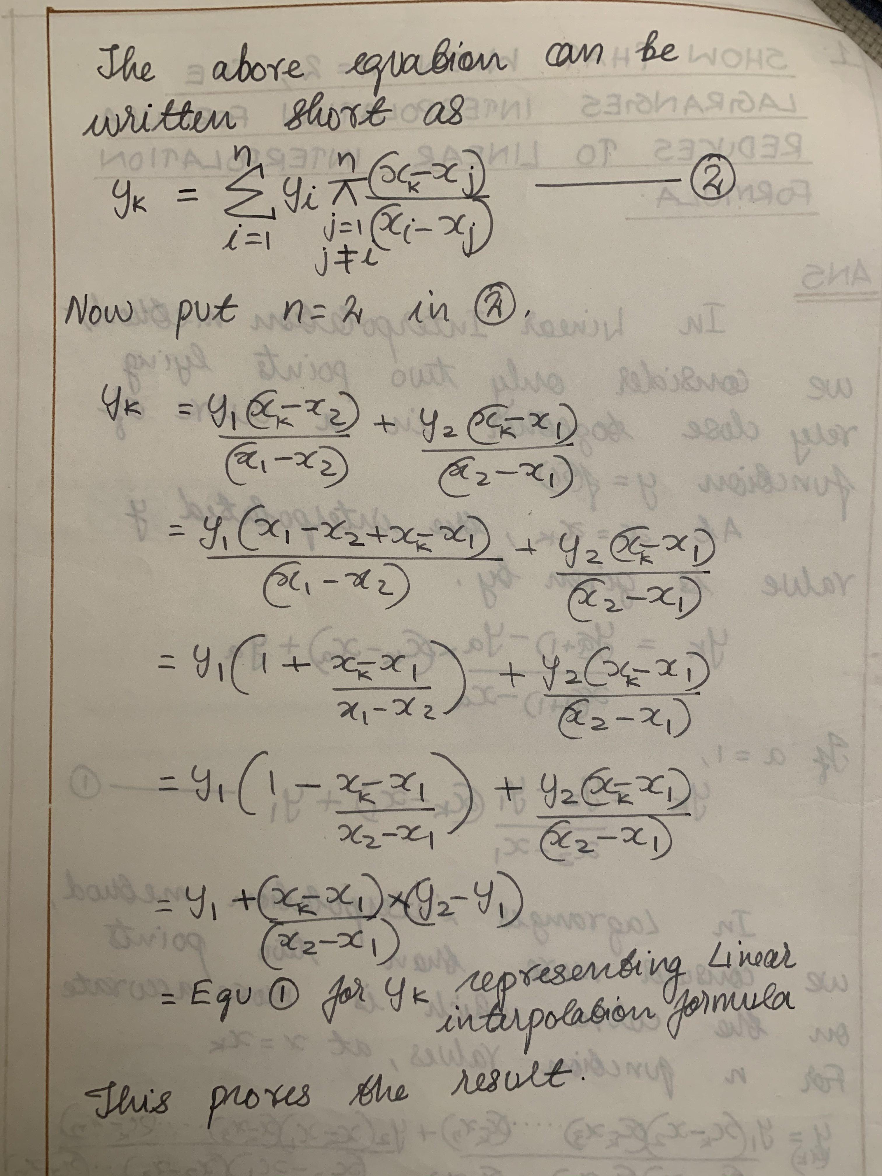 Lagranges interpolation formula to Linear interpolation