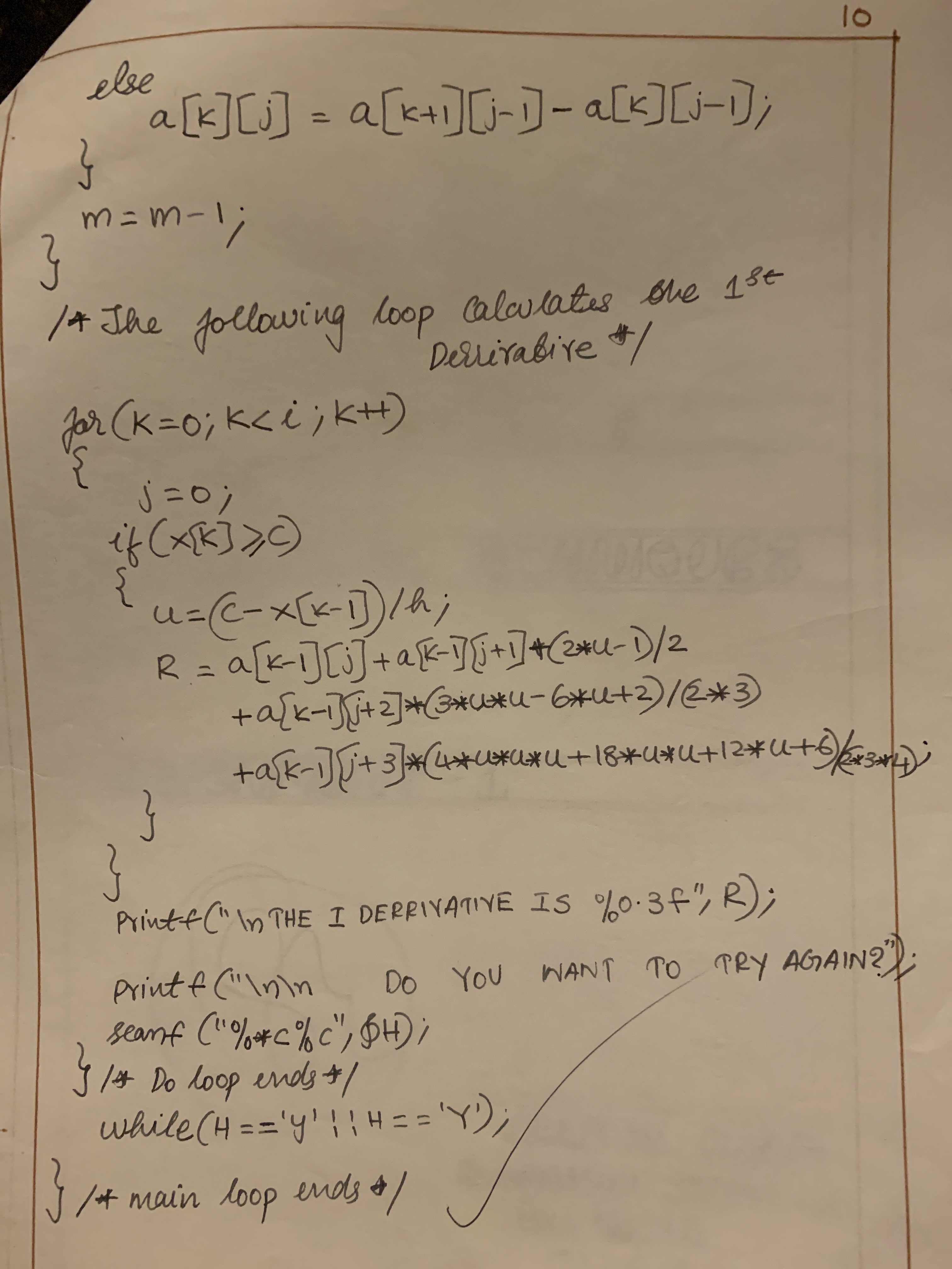 C program to evaluate the 1st derivative of a function at any given point