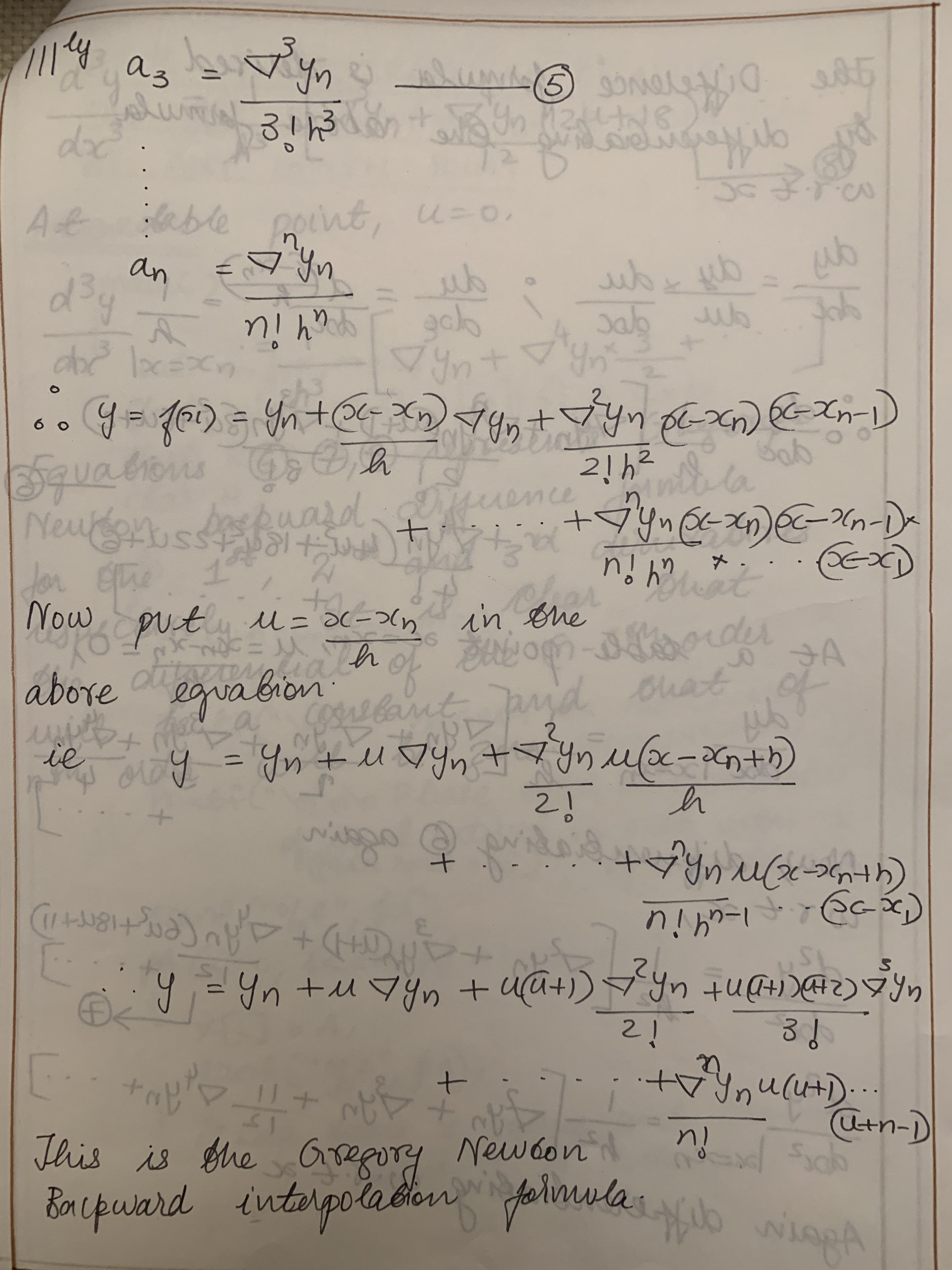 Gregory Newton Backward Interpolation Method