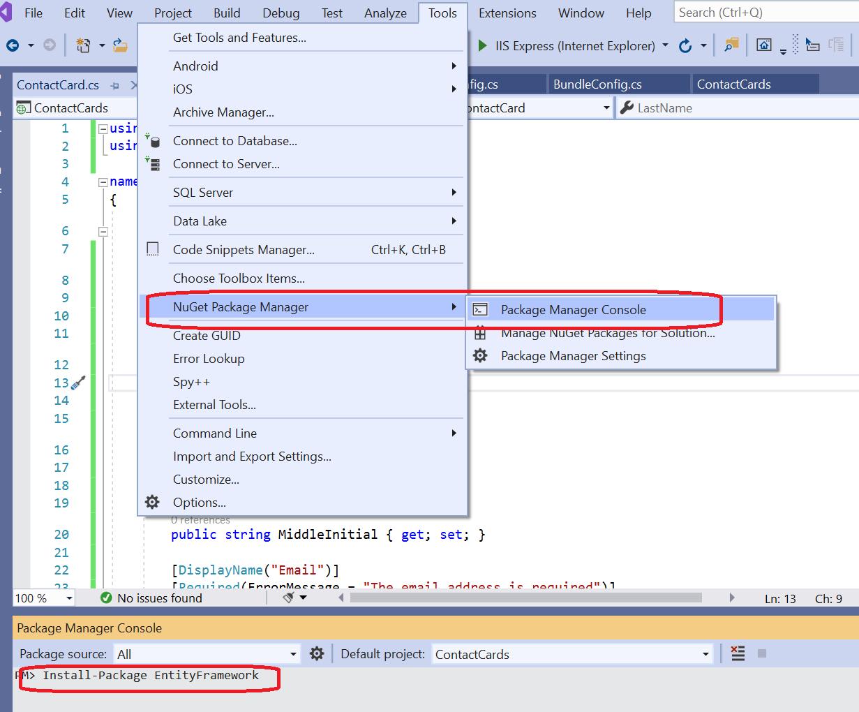 Install Entity Framework via Nuget Package Manager
