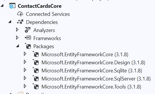 Entity Framework Core installed packages