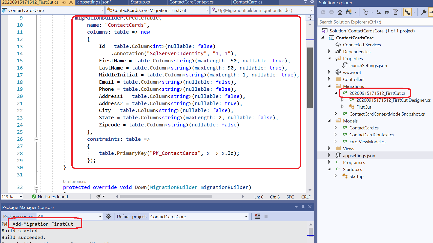 Add Migration - Entity Framework Core