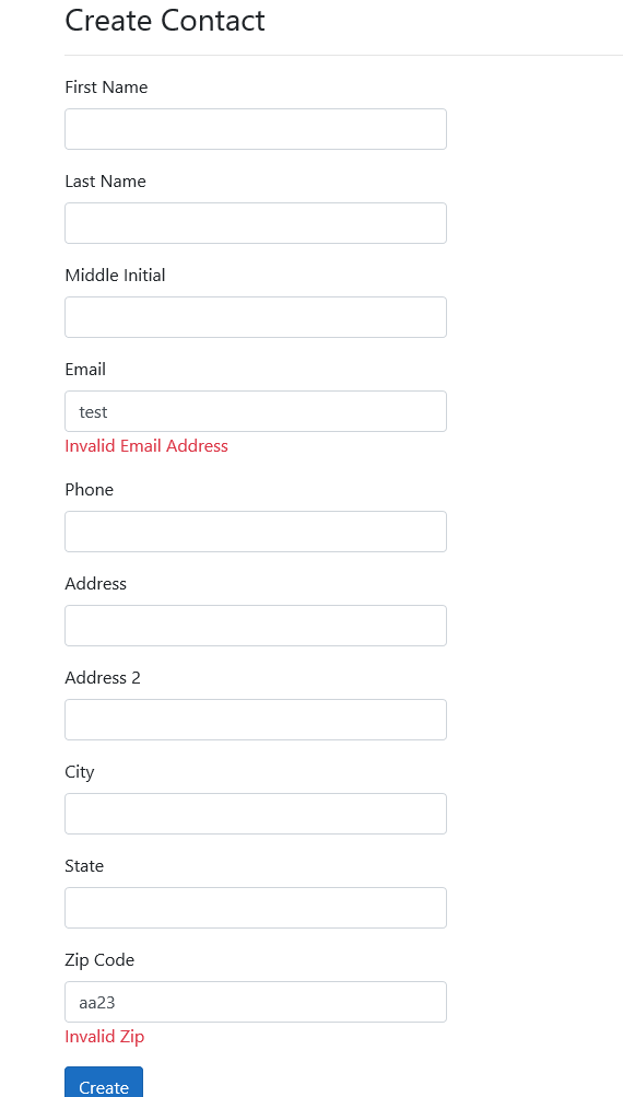 Create Form front end validation