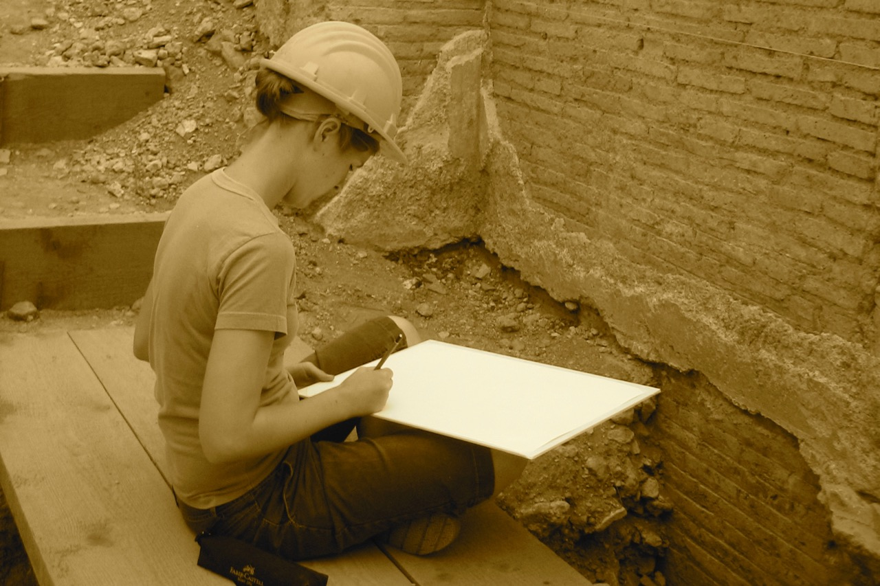 architecture students measured drawing exercise.