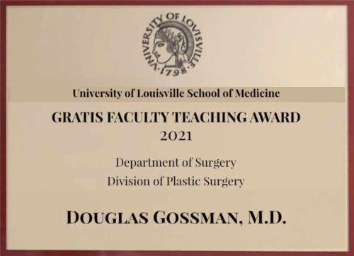 Douglas Gossman Plastic Surgery 2021 Award