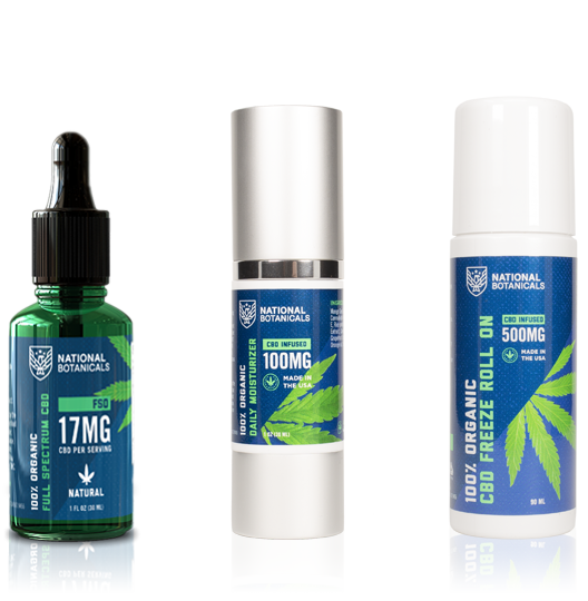 Quality CBD Products including Full Spectrum CBD Oil 17MG Natural Flavor, CBD Daily Moisturizer 100MG CBD Infused, CBD Freeze Roll On 500MG CBD Infused from National Botanicals