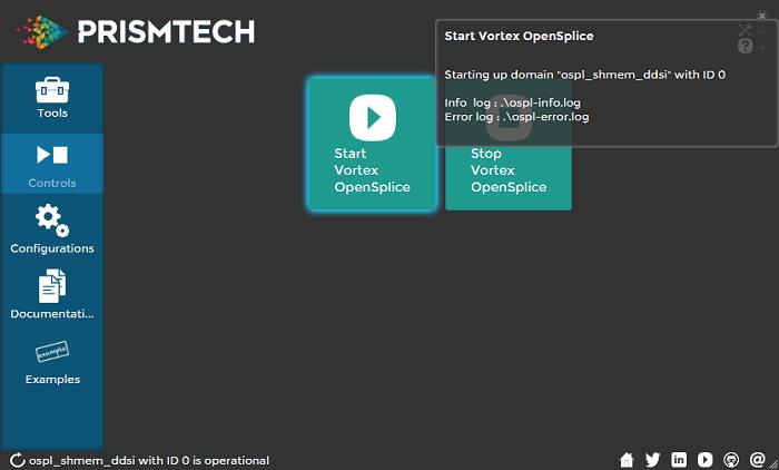 Vortex OpenSplice Launcher Start Vortex Opensplice