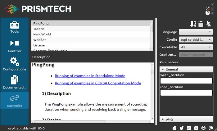 Vortex OpenSplice Launcher Examples Tab