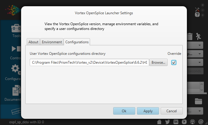 Vortex OpenSplice Launcher Settings Configurations