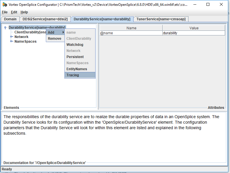 Adding tracing to the durablity service using the opsnsplice configuration tool
