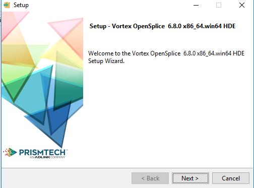 Vortex OpenSplice installer start page