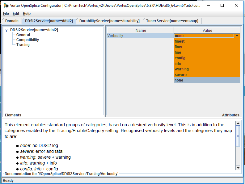 changing ddsi2 logging using the osplconf tool