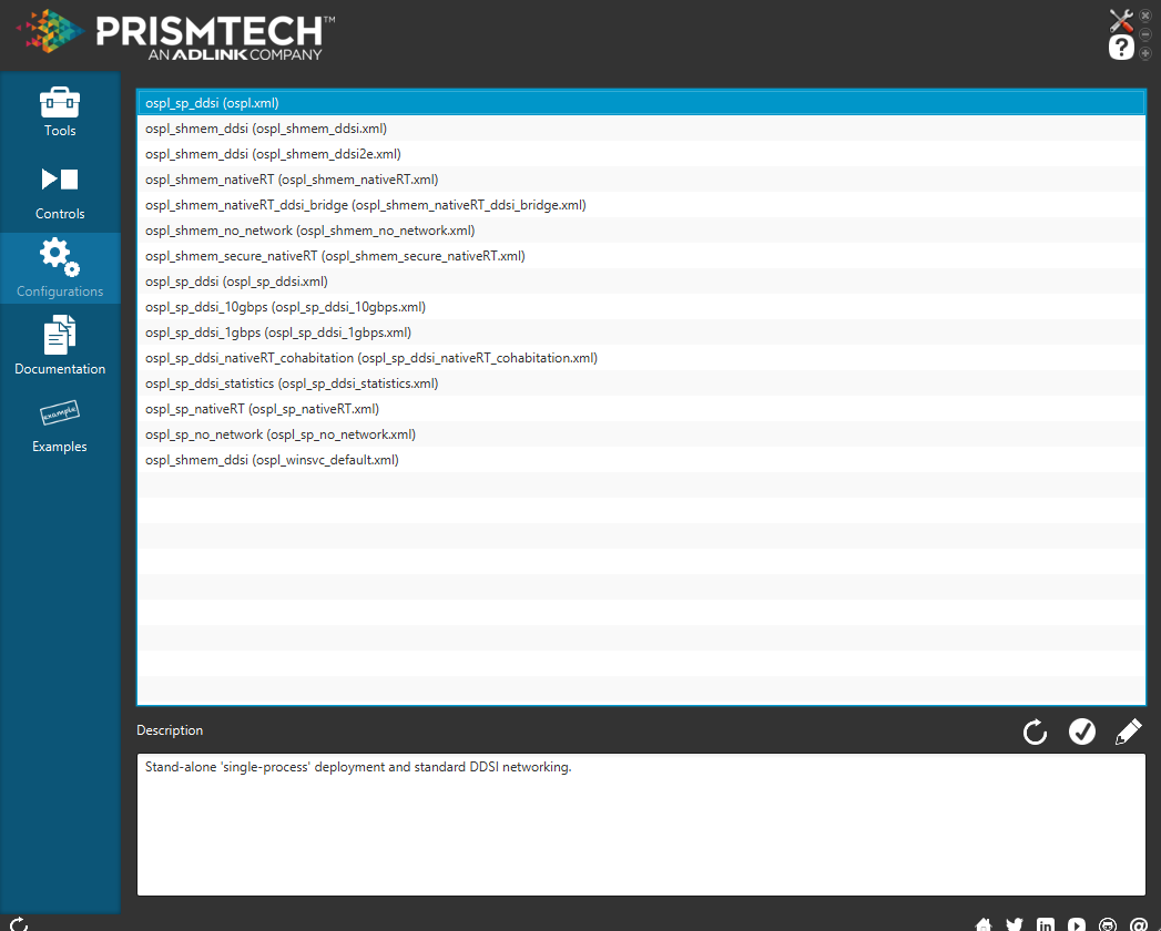 changing configuration from the Opensplice launcher
