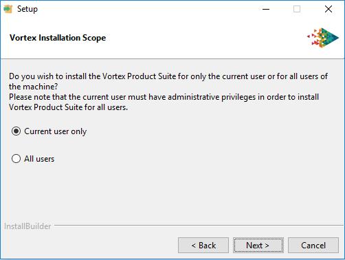 Vortex platforms install for current user