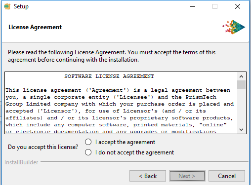 Vortex platforms installer accept license agreement screen
