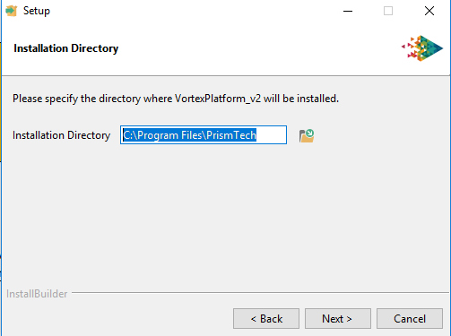 Vortex platforms installer choose directory window