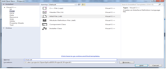 add midl in visual studio