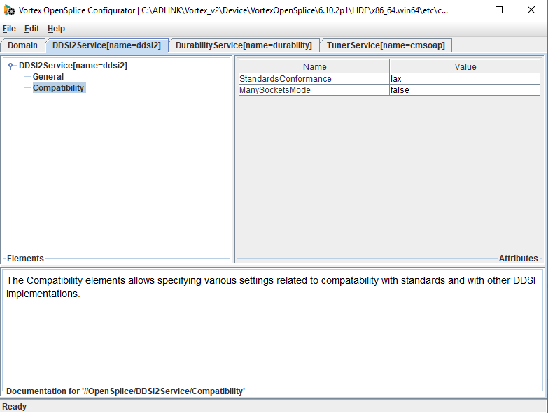 screenshot of OpenSplice configuration tool showing setting ManySocketsMode