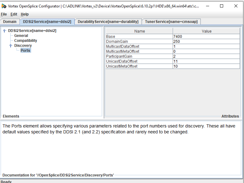 A screen shot of the opensplice configuration tool showing ddsi ports