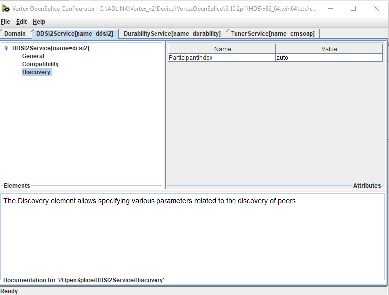 Screenshot showing how to change participantindex in the opensplice configuration tool