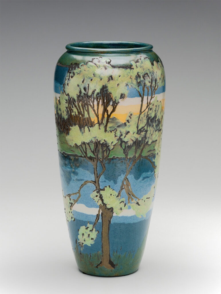 Paul Revere Pottery Vase with Landscape Scene