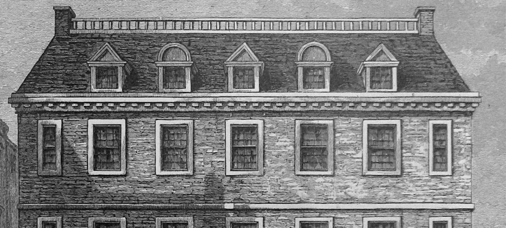 Etching of Historic Clark Franklin House
