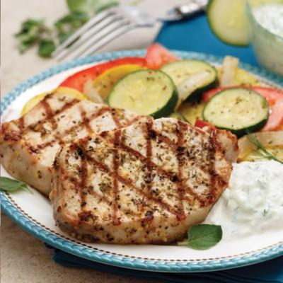 Perfect Portion Grilled Greek Pork Chops